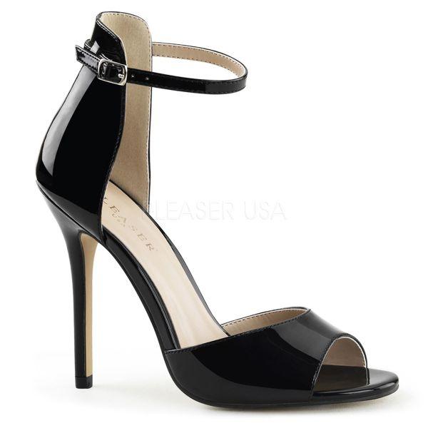 AMUSE-14 High-Heel Sandalette schwarz Lack mit Fesselriemchen